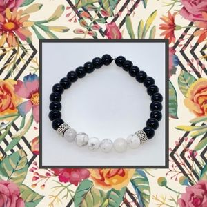 Men's Black Jasper and White Howlite Bracelet
